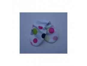 Rukavičky kojenecké bílé s puntíky