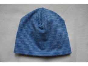 Čepice dvojitá bavlněná modrá s drobným bílým proužkem
