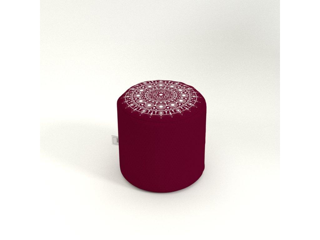 mandala round teburet red