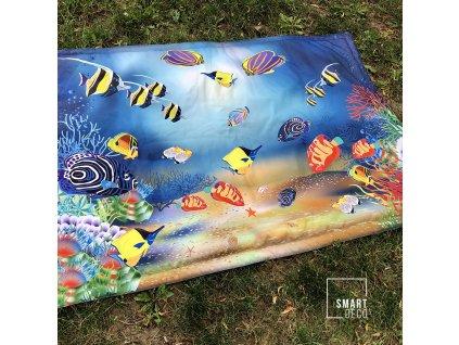 Nepromokavá deka na hraní - malá, polstrovaná - vzor korálový útes