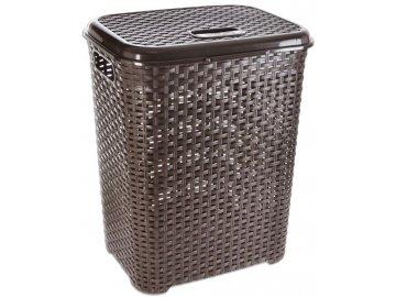 Koš na prádlo 45 l/50x40x33 cm plast/ratan hnědý