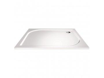 Obdélníková sprchová vanička, 90x80x3 cm, bez nožiček, litý mramor