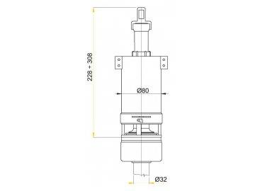 Alca plast Vypouštěcí ventil pro vysoko položenou nádržku A03A