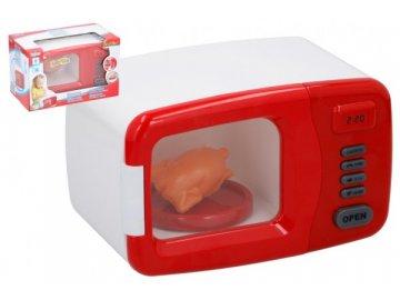 Mikrovlnná trouba plast 19x13cm na baterie se zvukem se světlem v krabici 25x16x14cm