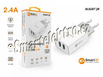 Chytrá síťová nabíječka ALIGATOR 2.4A, 2xUSB, smart IC, bílá