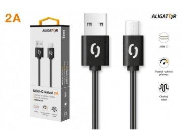 Datový kabel ALIGATOR 2A USB-C 1m, černý