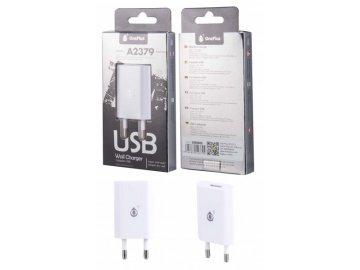 Nabíječka PLUS A2379 s USB výstupem 5V/1A - bílá