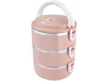 Jídlonosič termo 3 dílný (3x500 ml) růžový