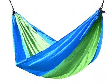 Houpací síť NYLON 275x137cm zeleno-modrá 13566