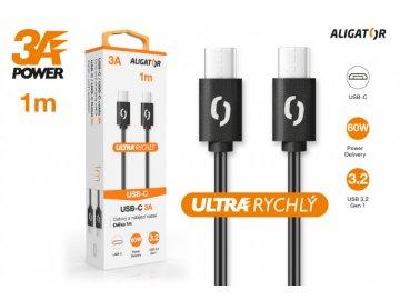 Datový kabel ALIGATOR POWER 3A, USB-C/USB-C, 1m černý