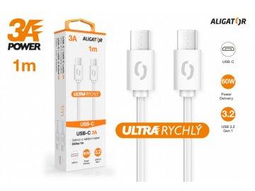 Datový kabel ALIGATOR POWER 3A, USB-C/USB-C, 1m bílý