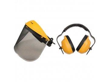 Helma s odnímatelným štítem + chrániče sluchu