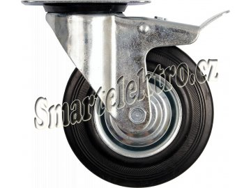 Otočné kolečko s brzdou, gumové 100kg 125/34/155mm