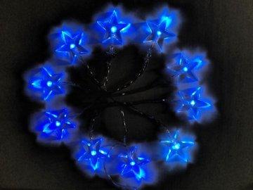 solight led vanocni retez hvezdy 1m 10x led 2x aa modre svetlo transpar kabel 1v51 b