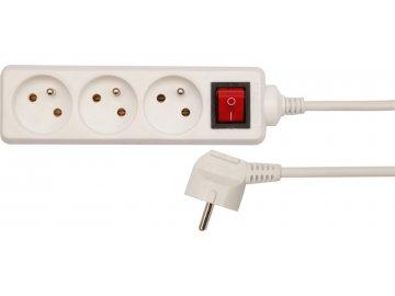 Kabel prodlužovací 1,5 m vypínač 3 zásuvky SPC 18