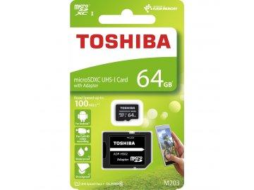MicroSDXC 64GB CL10 UHS1 + adap. TOSHIBA
