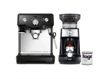 Pákové espresso Sage BES810BKS + BCG600BKS + káva