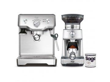 Pákové espresso Sage BES810BSS + BCG600 + káva