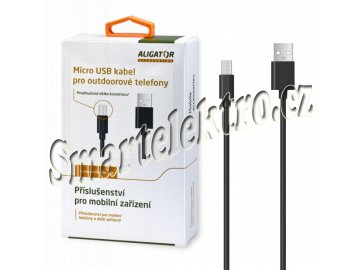 Dat.kab.Aligator pro outdoor.tel.2A,černý, prodloužený konektor