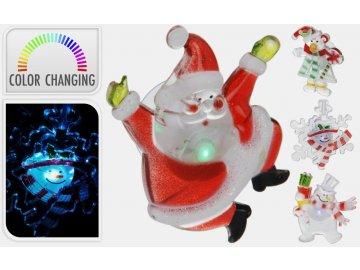 Dekorace vánoční figurka 8,5x5 cm LED na okno svítící s přísavkou