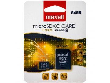 Maxell MicroSDXC 64GB CL10 + adpt MAXELL