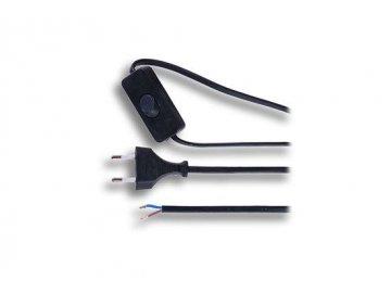 flexo snura 2 x 0 75mm2 cerna plocha vypinac 2m pf51