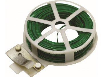 Drát 0,4 mmx50 m ocel poplastovaný zelený s planžetovými nůžkami v pouzdře
