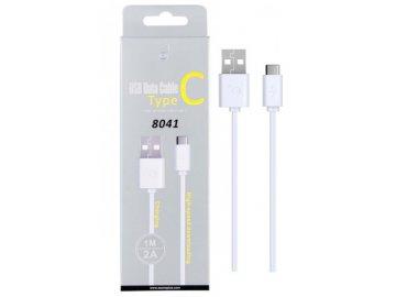Datový a nabíjecí kabel PLUS 8041 USB-C, 2A, 1m, bílý