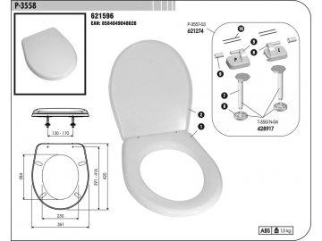Sedátko WC P-3558 bílé (plastové panty)