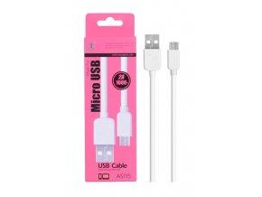 Datový a nabíjecí kabel PLUS, Micro USB, (AS115), bílý