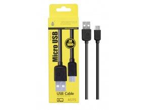 Datový a nabíjecí kabel PLUS, Micro USB, (AS115), černý