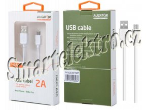 Datový kabel ALIGATOR AA110, iPhone lightning, bílý