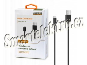 Datový a nabíjecí kabel ALIGATOR AS108, Micro USB, délka 2m, 2A, černý