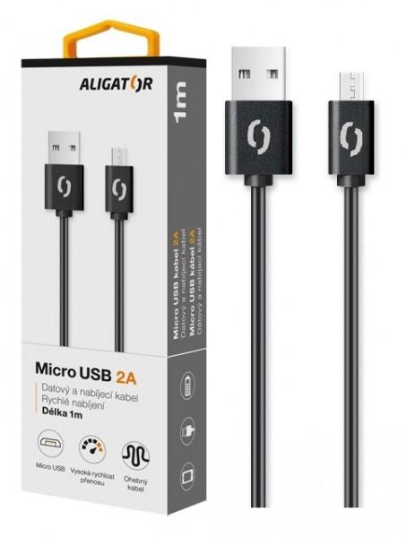 Datový kabel ALIGATOR 2A micro USB 1m, černý