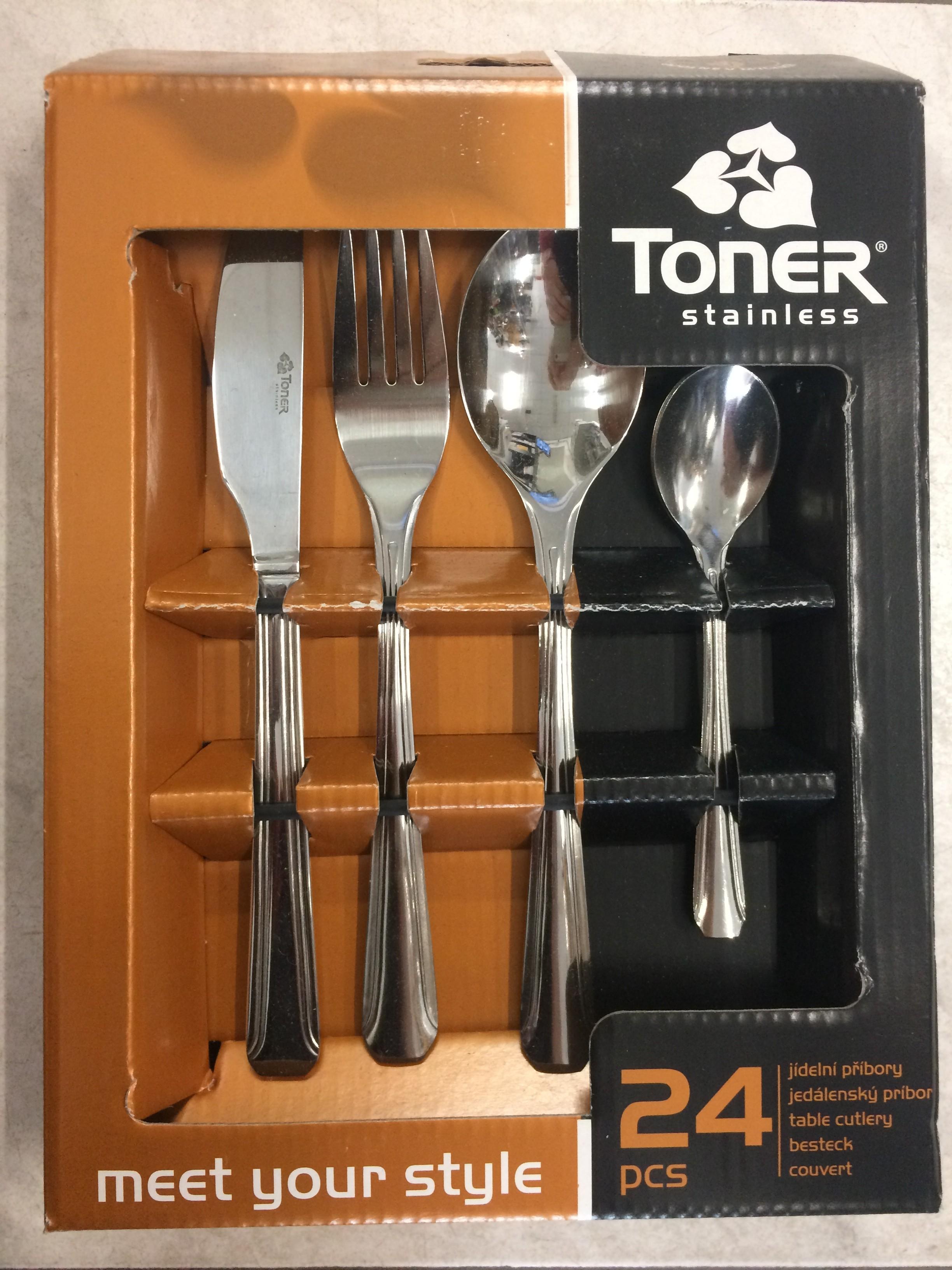 Příbory jídelní TONER Octagon sada 24 ks pro 6 osob nerez 6035 6035S001