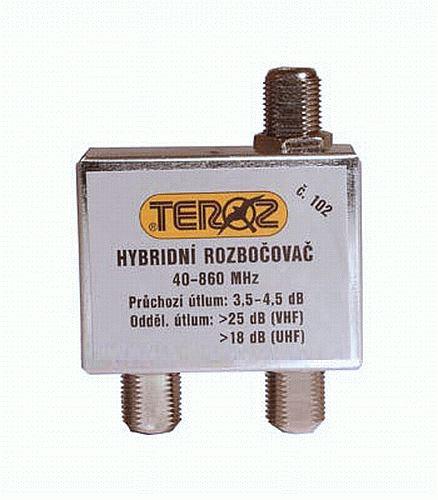 Antenní rozbočovač TEROZ 102X, 2x 3,5dB
