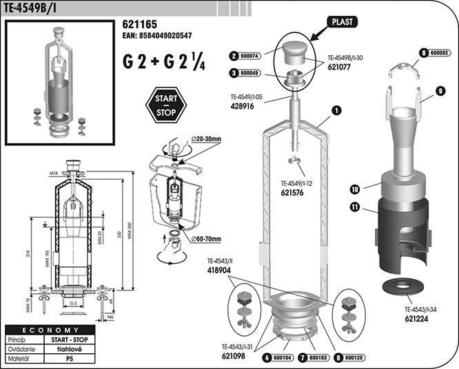 Ventil vypouštěcí WC TE4549B/I
