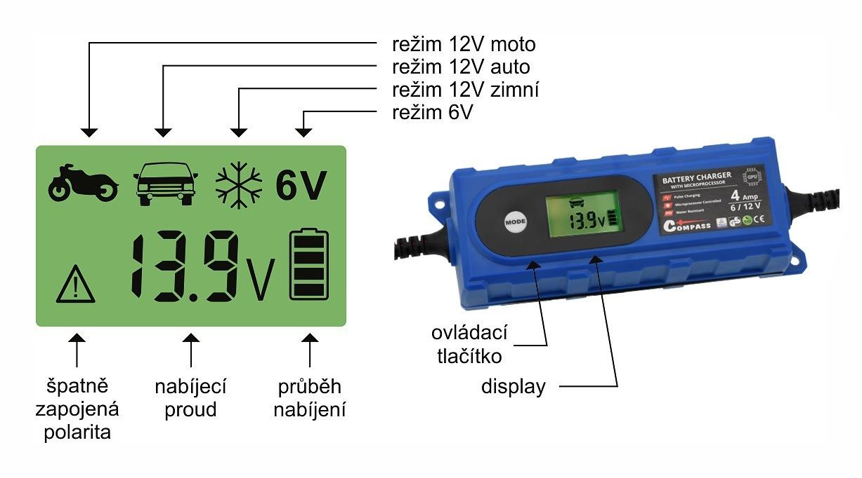 Nabíječka mikroprocesor 3,8Amp 6/12V PB/GEL LCD display