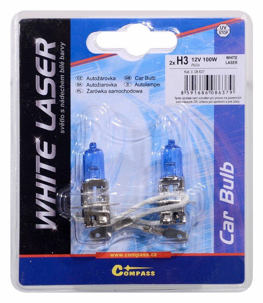 Žárovka 12V H3 100W Pk22s WHITE LASER blister 2ks
