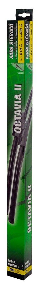 Stěrače FLAT SET 610+480mm GREEN OCT II