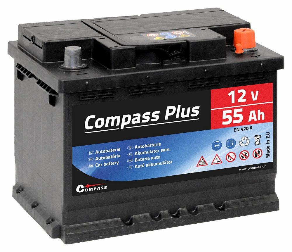 Autobaterie COMPASS PLUS 12V 55Ah 420A