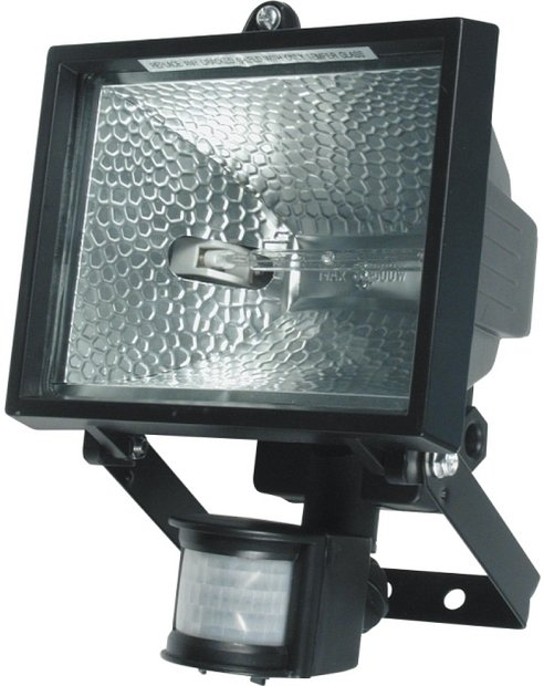 Lampa halogenová 120 W černá se senzorem