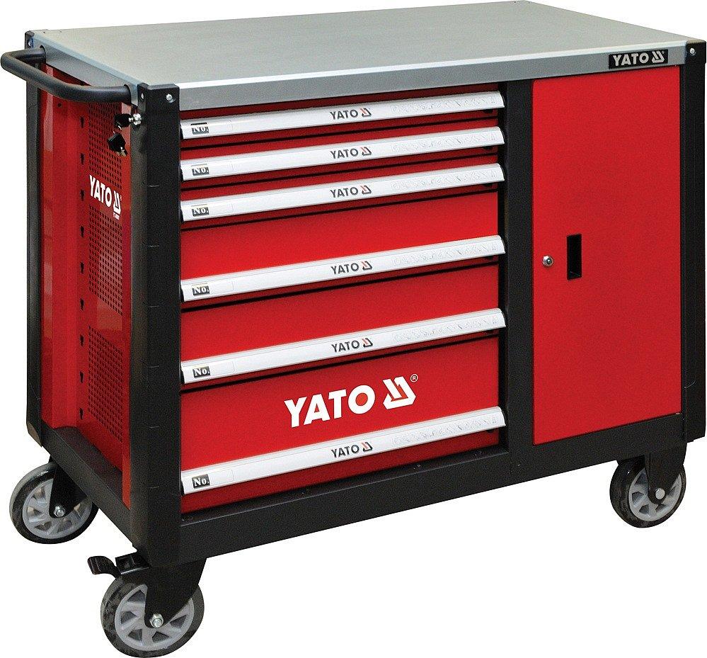 Skříňka dílenská pojízdná 6 zásuvek +zavírací skříň červená