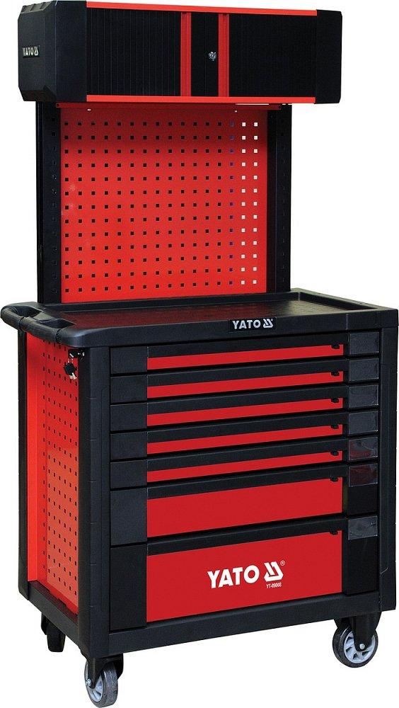 Skříňka dílenská pojízdná 7 zásuvek+pevná záda s vrchní skříňkou, červená