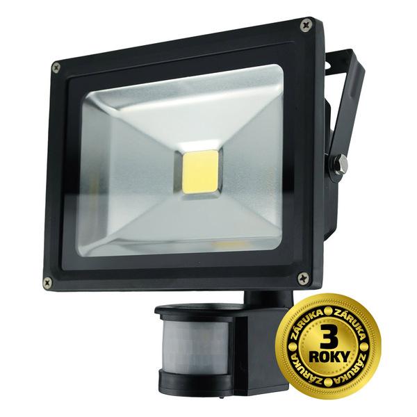 Solight LED venkovní reflektor, 20W, 1600lm, AC 230V, černá, se senzorem