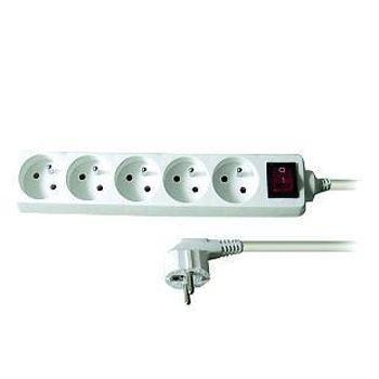 Prodlužovací kabel 3m 5 zásuvek s vypínačem, bílý, PP52