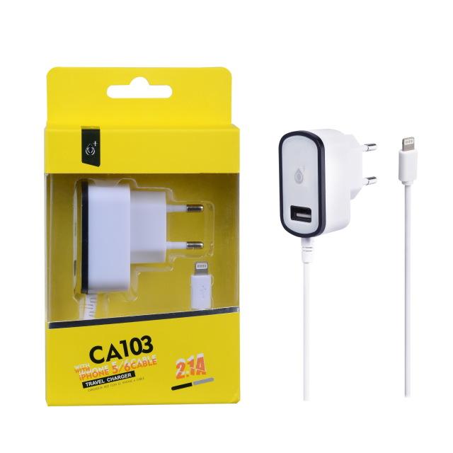 Nabíječka PLUS CA103, kabel pro iPhone5 + USB výstupem 5V/2,1A -bílá