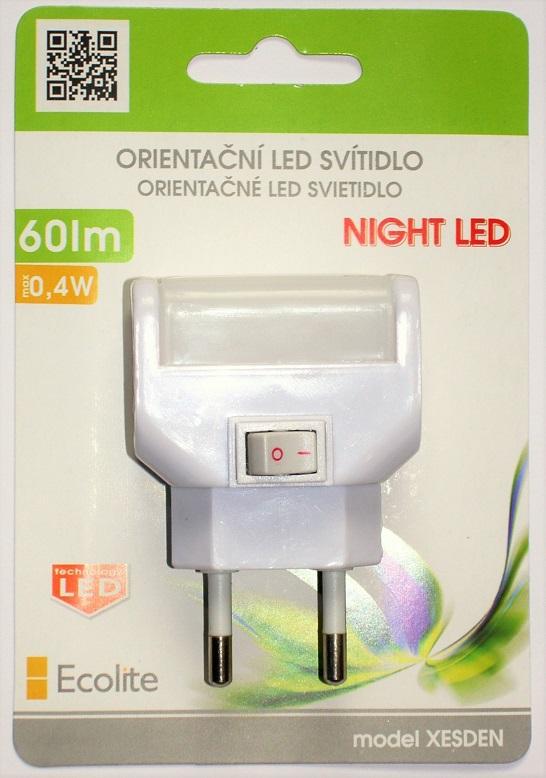 Noční LED svítidlo ECOLITE 0,4W, bílé s vypínačem XESDEN