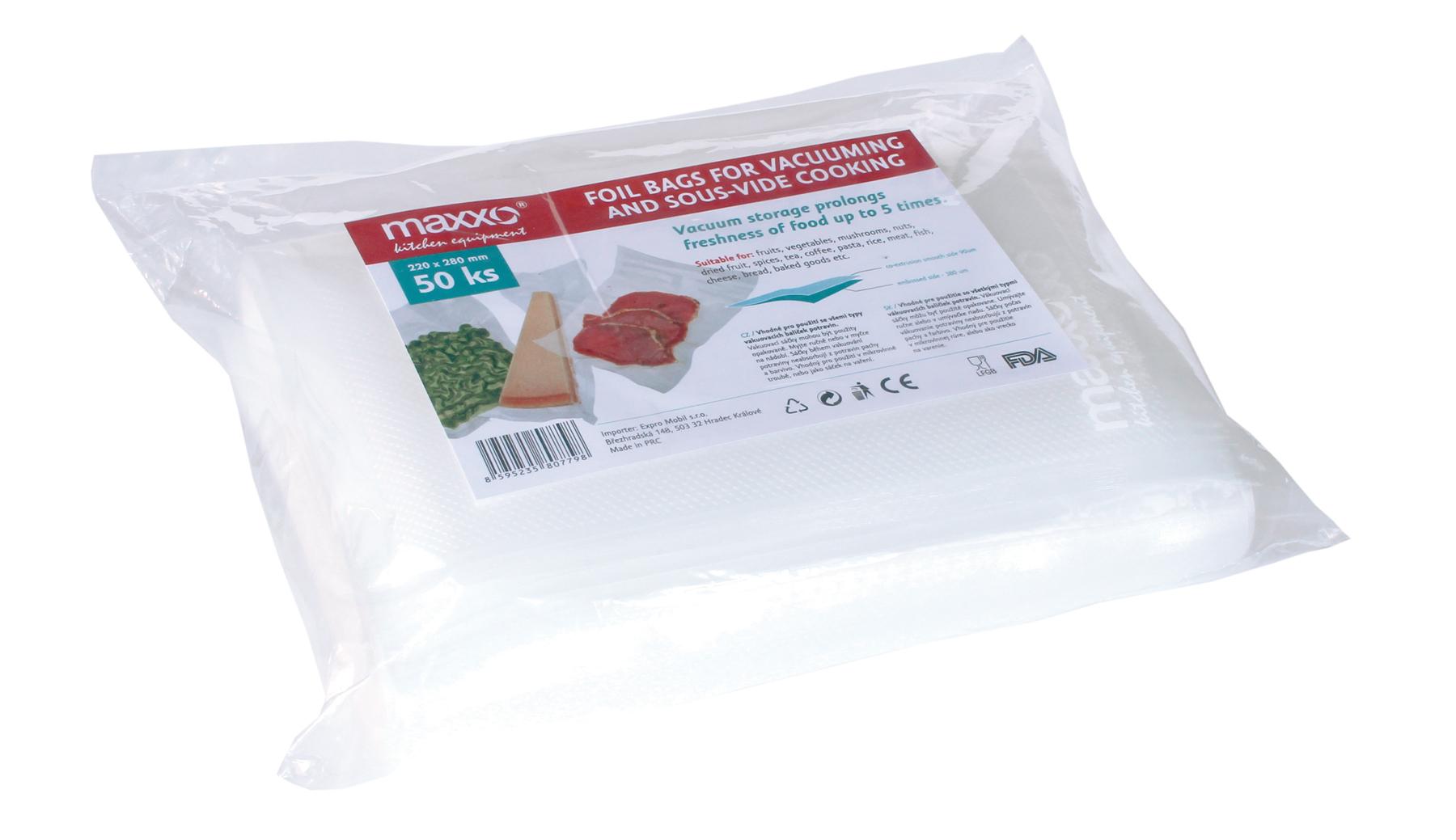 Náhradní sáčky do vakuové baličky potravin, Maxxo 22x28 cm 50ks