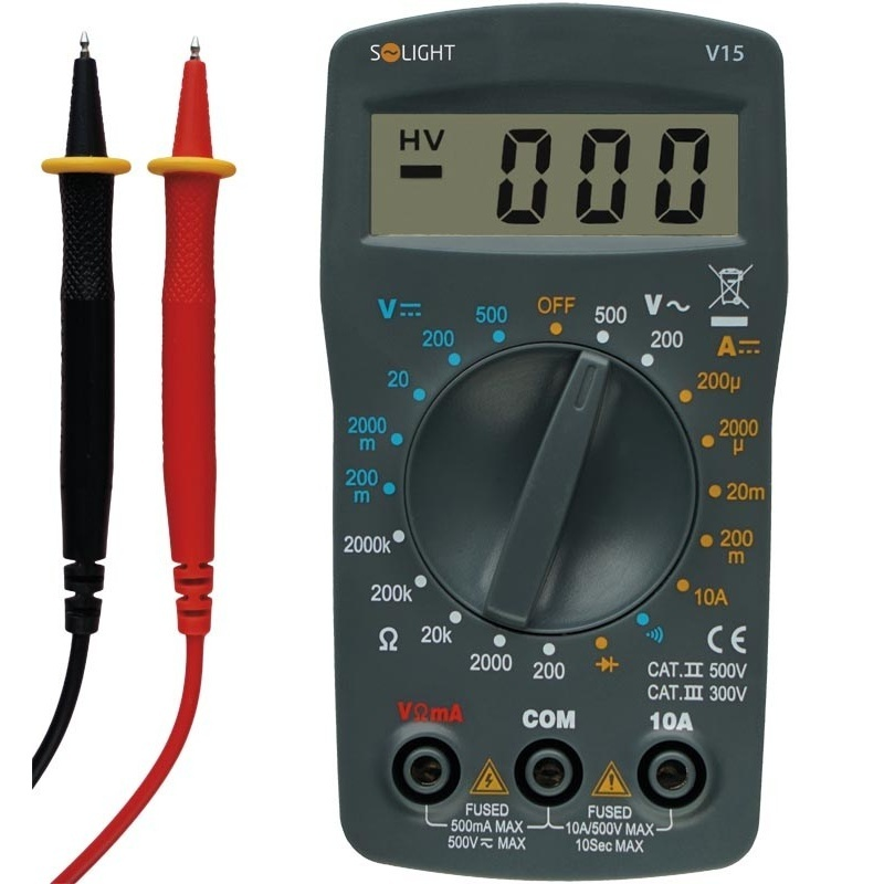 Solight multimetr, max. AC 500V, max. DC 500V / 10A (V15)